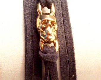 grey suede zamak gold plated skull bracelet double turn