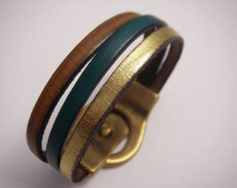 Bracelet leather belt camel vintage teal and gold