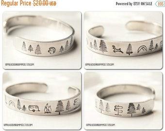 "WEEKEND SALE Camping 3/8"" Aluminum Hand Stamped Cuff Bracelet"