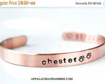 WEEKEND SALE Pet Memorial Hand Stamped Cuff Bracelet - Personalized - Pet Loss - In Loving Memory - Fur Baby - Gift