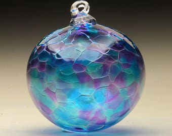 hand made blown glass Christmas ornament in tones of purple and blue, Luscious