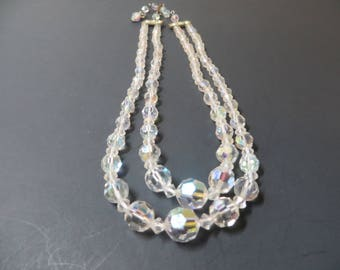 Double Strand Crystal Aurora Borealis Necklace, 16 Inch