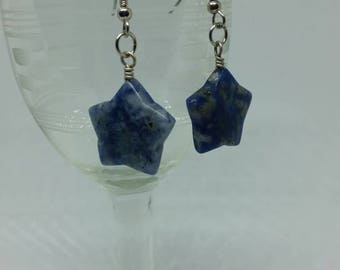 Sodalite Star Earrings Natural Stone Jewelry