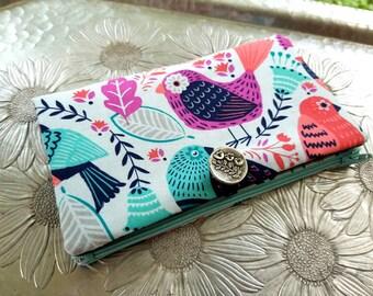 Women's Wallet, Bird Wallet, Light Blue Clutch
