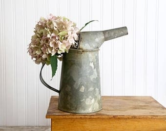 Vintage Galvanized Oil Can with Spout, Industrial Decor, Rustic Loft Decor, Rustic Farmhouse