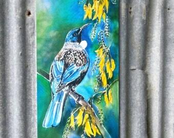OUTDOOR, Garden ART Wall Panel, New Zealand Tui Bird,NZ Native Bird, feeding on Kowhai Tree, nectar filled flowers. Weatherproof