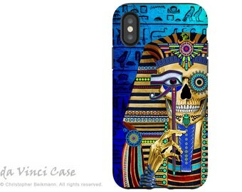 Egyptian Sugar Skull iPhone X Tough Case -King Tut Day of The Dead Dual Layer Case for Apple iPhone 10 - Funky Bone Pharaoh