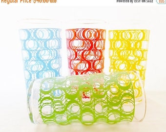 ON SALE Vintage, Mod Pop, Barware, Glassware, Set of 4 Glasses, 1960,s, Made by Federal Glass. Retro, Red, Green, Yellow, Blue