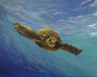 Green Sea Turtle, acrylic on canvas, 5x7, metallic, metallic paint gold, underwater, ocean painting, Hawaii, totem animal