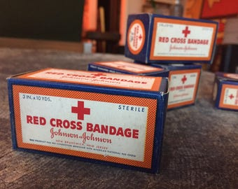 Red Cross Bandages Vintage packaging NOS new old stock gauze unopened box medical