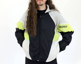 True Vintage NIKE Black, White & Neon Yellow Warm Up / Zip Up Light Windbreaker Hooded Jacket M
