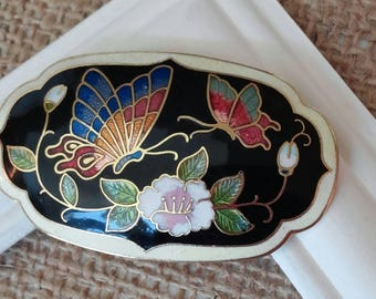Vintage Cloisonné Enamel Scarf Slide Butterflies Flowers Black Scarf Holder Gold Tone Collectible  Jewelry Blue