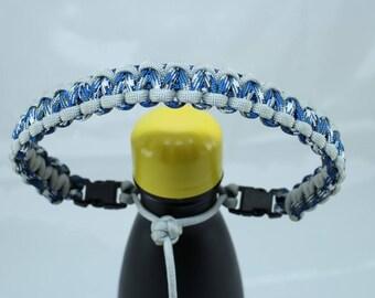 Silver Gray & Blue Camo Color Paracord Handle