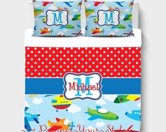 ON SALE Boys Custom Bedding - Airplane Bedding - Helicopter Bedding Comforter or Duvet - Personalized Boys Bedroom