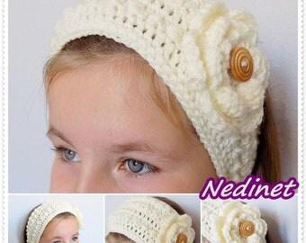 Crochet Headband Ear Warmer with Flower Woman Teen PATTERN