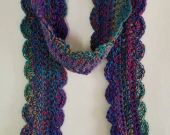 Warm Fluffy Soft Crochet Scarf Multicolored Purple Green Knit Scarf (Ready to Ship)