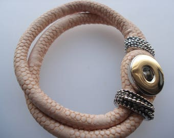 22cm PU Leather Snap Button Bracelet, Double Layer Lightpink Bracelet, Fits 18mm / 20mm Snap Buttons, Half-Price Bracelet!! BR15