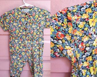 90s floral romper / bright floral baby romper / baby vintage 6-12M