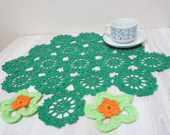 Green flower Doily centerpiece crochet mat pad round table orange knitted home decor handmade floral cotton coaster snowflake asymmetric