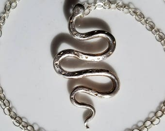 Unique sterling silver snake necklace, one of a kind snake pendant