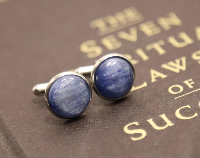 Kyanite Cufflinks--Blue Cufflinks--Kyanite Cabochon Cufflinks