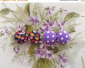 WEEKEND SALE Button Earrings / Set of 2 / Wholesale Jewelry / Vintage Fabric / Small Gifts / Hypoallergenic Earrings / Bridal Shower / Acces