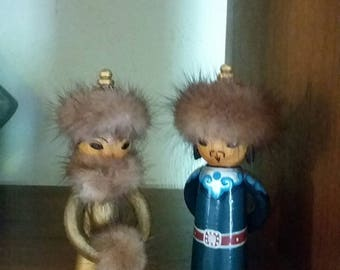 Pair of Small Vintage Kokeshi Dolls Adorable