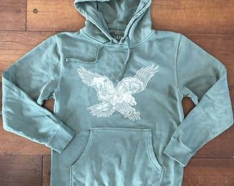 FREE SHIPPING Philadelphia Eagle Hoodie -- Paul Carpenter Art -- Unisex Philly Artist Print -- Pigment Dyed  HOODIE