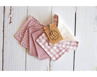 Wipes cleansing squares washable two-sided reusable, organic cotton, pink: plain, polka dots, gingham and unbleached organic Terry jersey.