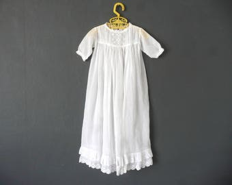 Antique Christening gown - white muslin Christening dress - antique baby dress - muslin and broderie anglaise baptism dress