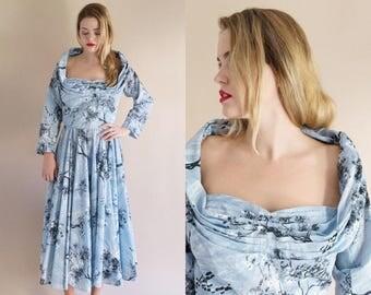 1950s Dress - Vintage 50s Light Blue Novelty Print Dress - Only In My Dreams Dress