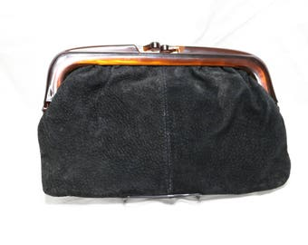 1960s Black Suede Leather Clutch - Purse  -  Vintage - Club XIX - Made in Italy