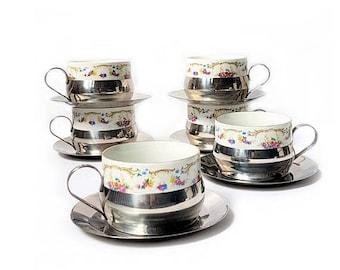 SALE Vintage Tea Cups Set of 6 Italian Capodimonte Tea cups set porcelain cups and holders , vintage retrò tableware.