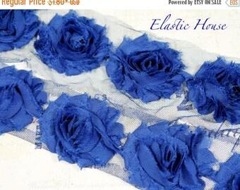 "Summer SALE 10% OFF 2.5"" Yard Shabby Rose Trim - Royal Blue Color- Chiffon Trim - Hair Accessories Supplies"