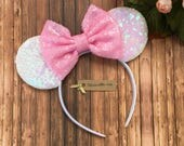 Minnie Mouse Ears, Minnie Mouse Birthday, Mickey Mouse Ears, Mouse Ears Headband, Iridescent Sequin Mouse Ears, Disney Vacation, Easter