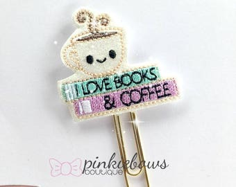 Kawaii/Books and Coffee/Sparkle Applique Paper Clip/Planner Clip/Bookmark/Journal Marker