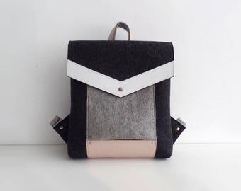Melange Black Gray White Pink Felt Genuine Leather Backpack