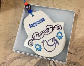 Hamsa Wall Hanging,Ceramic Hamsa Hand, Ceramic Hamsa, Wall Decor Hamsa, hope, Handmade Hamsa,housewarming, Luck Hamsa חמסה, Happiness hamsa