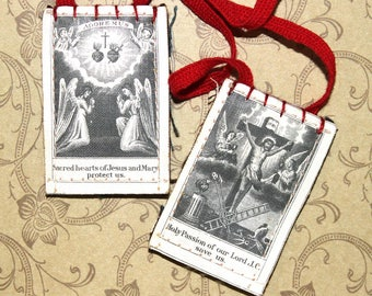Religious Scapular Pair*Vintage Prayer Necklace*Jesus and Mary Religious Pendant