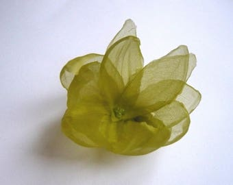 lime green silk petals flower hair clip