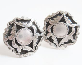 DECO Vintage 1940s MEXICO Sterling Silver Chased Floral Cuff Links PLAFINA Assay Hallmark Suitable For Signet Monogram Nouveau Cufflinks 18g