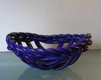 Italian Cobalt Blue Clay Woven Fruit Basket Made in Italy