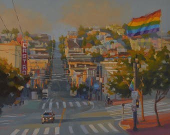 San Francisco - Castro - Pride - Urban - Cityscape - Streets - Rainbow Flag - Gay Pride - District - Plein Air - Landscape - City - Calif