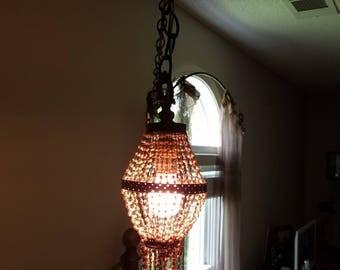 Bohemian Vintage Beaded Hanging Lamp