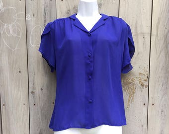 "Vintage top | 1950s 60s ""Lenny"" cobalt blue sheer short sleeve blouse with covered buttons"