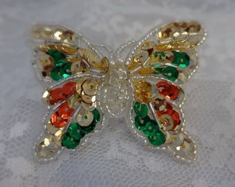 Butterfly Brooch | Colorful  Jewelry | Sequins  Beads Pearls |  Flying Insect Jewelry | Bright Colors | Spring Summer Handmade Bug Pin