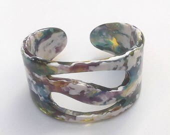SUMMER SALE Carlos Sobral Style Swirl Pollock Line Cuff Bracelet, End of Day, Multi-colored