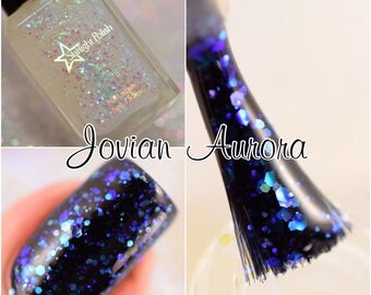 Jovian Aurora Iridescent Color Shifting Glitter Effect Top Coat Nail Lacquer Starlight and Sparkles Polish