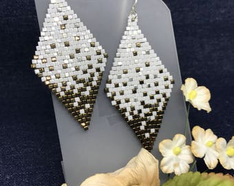 White silver and Bronze-Gold Cube Seed Bead Earrings