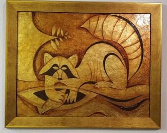 """Larry Maschino Vintage Cubist Artwork 32"""" x 26"""""""